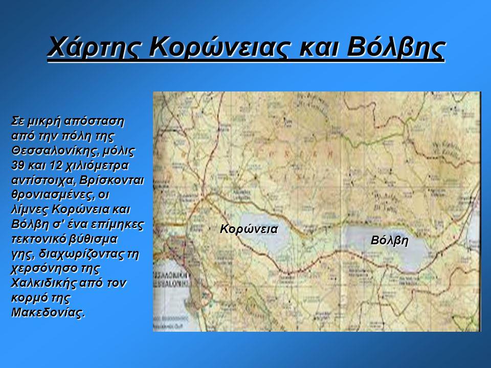 Χάρτης Κορώνειας και Βόλβης Κορώνεια Βόλβη Σε μικρή απόσταση από την πόλη της Θεσσαλονίκης, μόλις 39 και 12 χιλιόμετρα αντίστοιχα, Βρίσκονται θρονιασμ