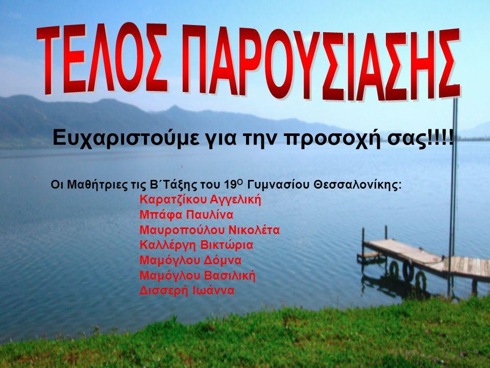Ευχαριστούμε για την προσοχή σας!!!! Οι Μαθήτριες τις Β΄Τάξης του 19 Ο Γυμνασίου Θεσσαλονίκης: Καρατζίκου Αγγελική Μπάφα Παυλίνα Μαυροπούλου Νικολέτα