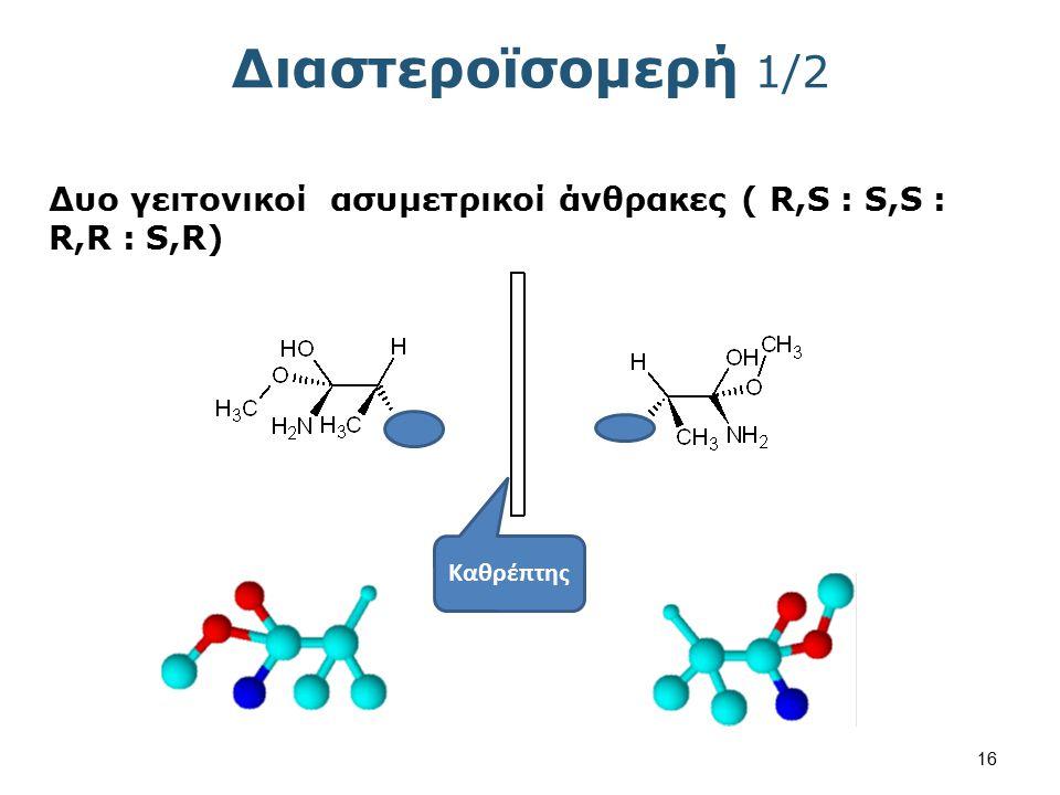 Διαστεροϊσομερή 1/2 Δυο γειτονικοί ασυμετρικοί άνθρακες ( R,S : S,S : R,R : S,R) Καθρέπτης 16