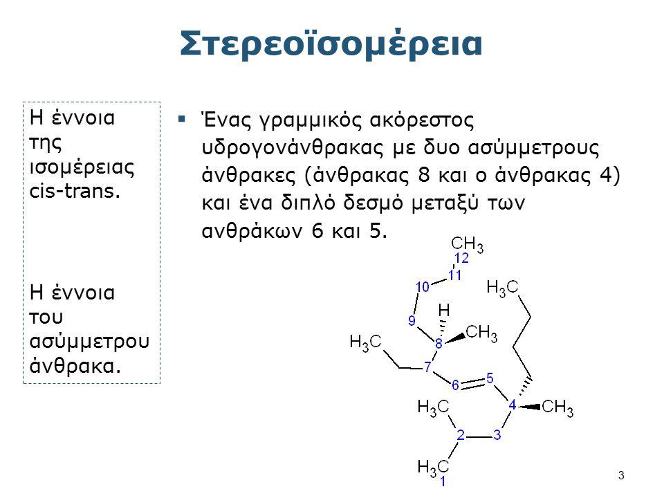 Στερεοϊσομέρεια Η έννοια της ισομέρειας cis-trans. H έννοια του ασύμμετρου άνθρακα.  Ένας γραμμικός ακόρεστος υδρογονάνθρακας με δυο ασύμμετρους άνθρ