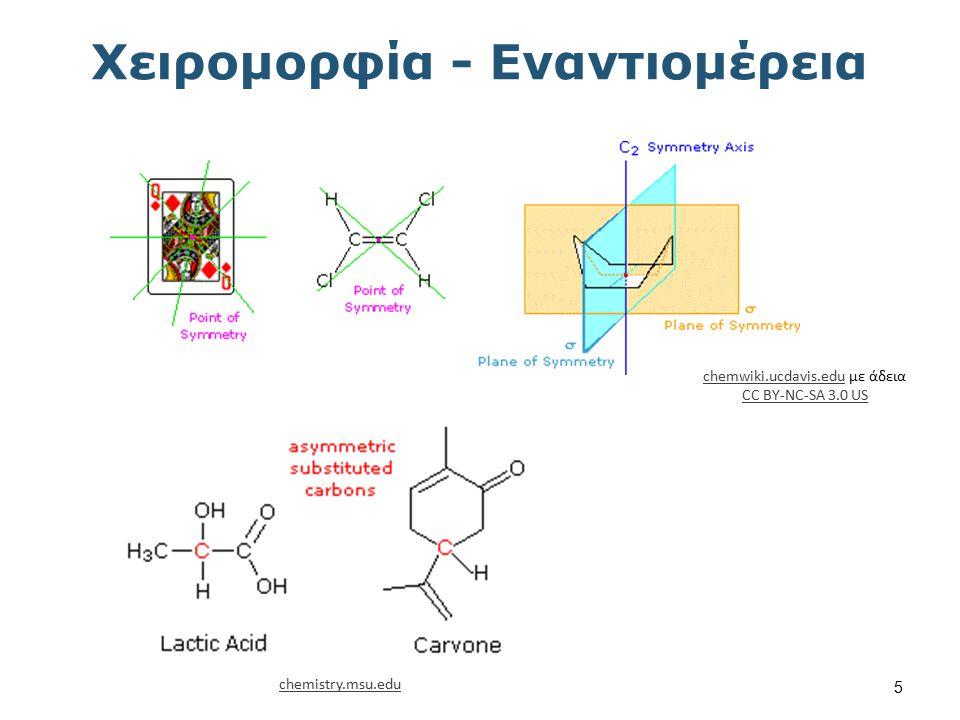 Χειρομορφία - Εναντιομέρεια chemwiki.ucdavis.educhemwiki.ucdavis.edu με άδεια CC BY-NC-SA 3.0 US CC BY-NC-SA 3.0 US chemistry.msu.edu 5