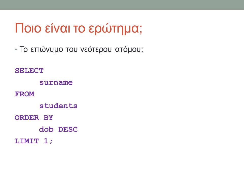 Ποιο είναι το ερώτημα; Το επώνυμο του νεότερου ατόμου; SELECT surname FROM students ORDER BY dob DESC LIMIT 1;