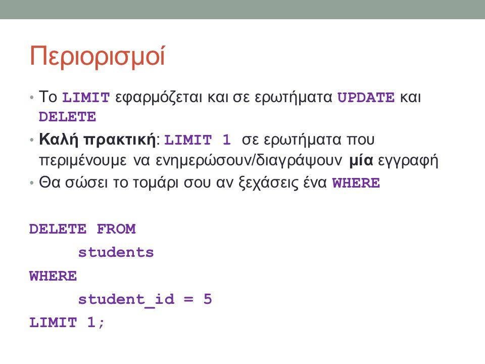 Περιορισμοί Τo LIMIT εφαρμόζεται και σε ερωτήματα UPDATE και DELETE Καλή πρακτική: LIMIT 1 σε ερωτήματα που περιμένουμε να ενημερώσουν/διαγράψουν μία εγγραφή Θα σώσει το τομάρι σου αν ξεχάσεις ένα WHERE DELETE FROM students WHERE student_id = 5 LIMIT 1;