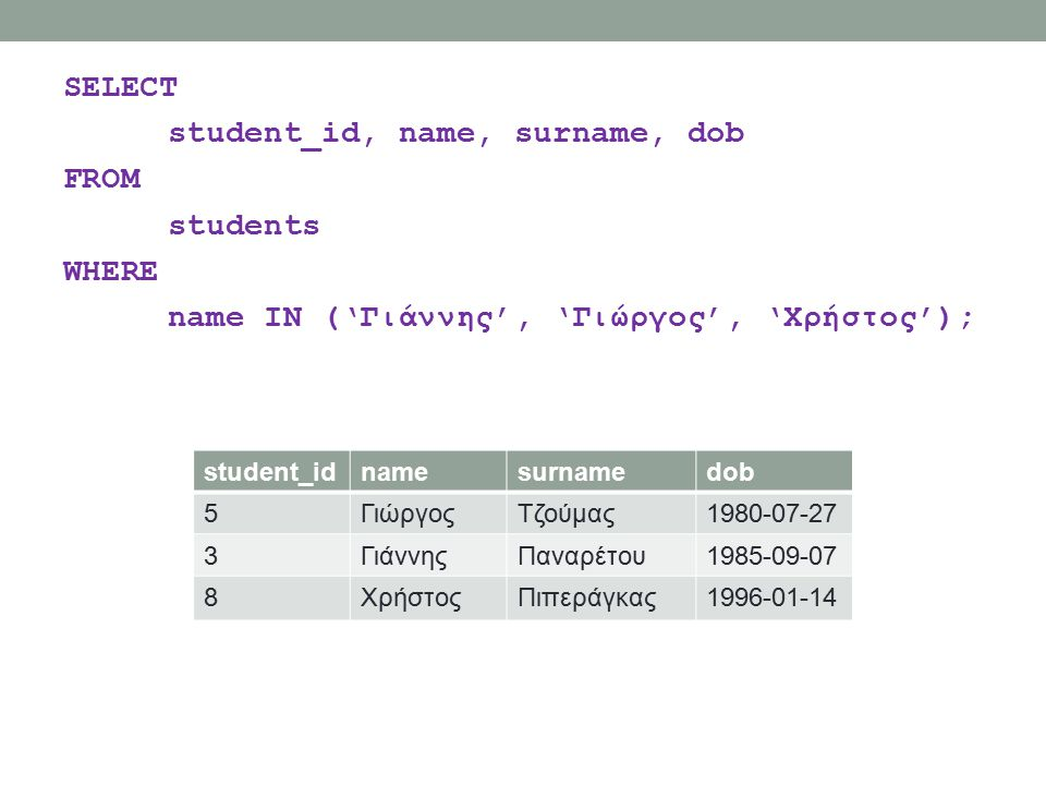 SELECT student_id, name, surname, dob FROM students WHERE name IN ('Γιάννης', 'Γιώργος', 'Χρήστος'); student_idnamesurnamedob 5ΓιώργοςΤζούμας1980-07-2