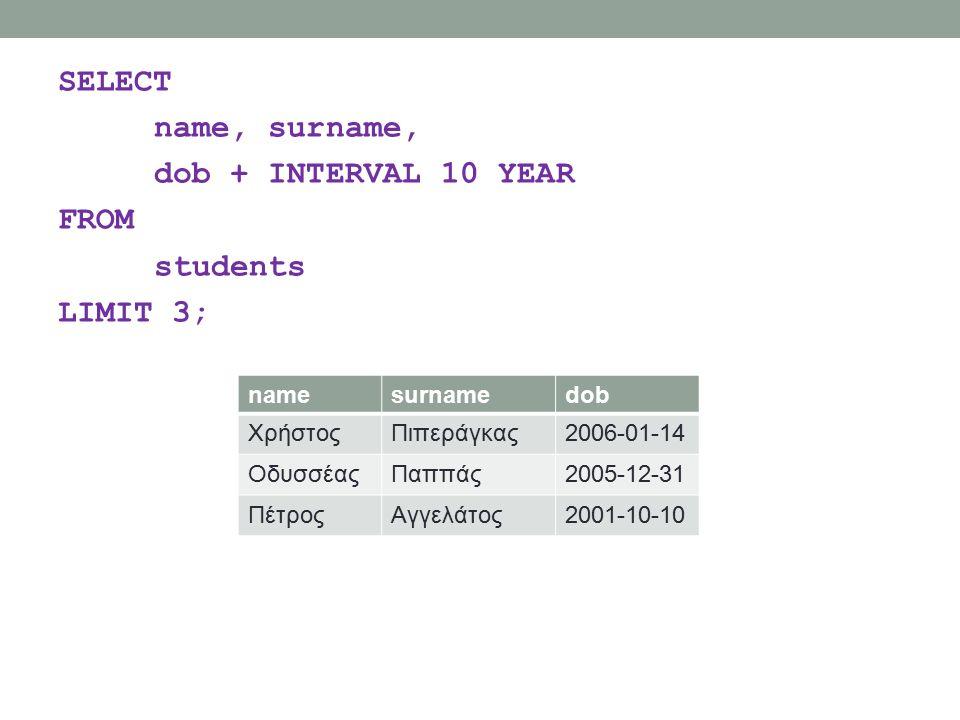 SELECT name, surname, dob + INTERVAL 10 YEAR FROM students LIMIT 3; namesurnamedob ΧρήστοςΠιπεράγκας2006-01-14 ΟδυσσέαςΠαππάς2005-12-31 ΠέτροςΑγγελάτος2001-10-10