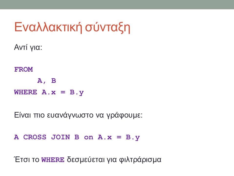 Εναλλακτική σύνταξη Αντί για: FROM A, B WHERE A.x = B.y Είναι πιο ευανάγνωστο να γράφουμε: A CROSS JOIN B on A.x = B.y Έτσι το WHERE δεσμεύεται για φιλτράρισμα