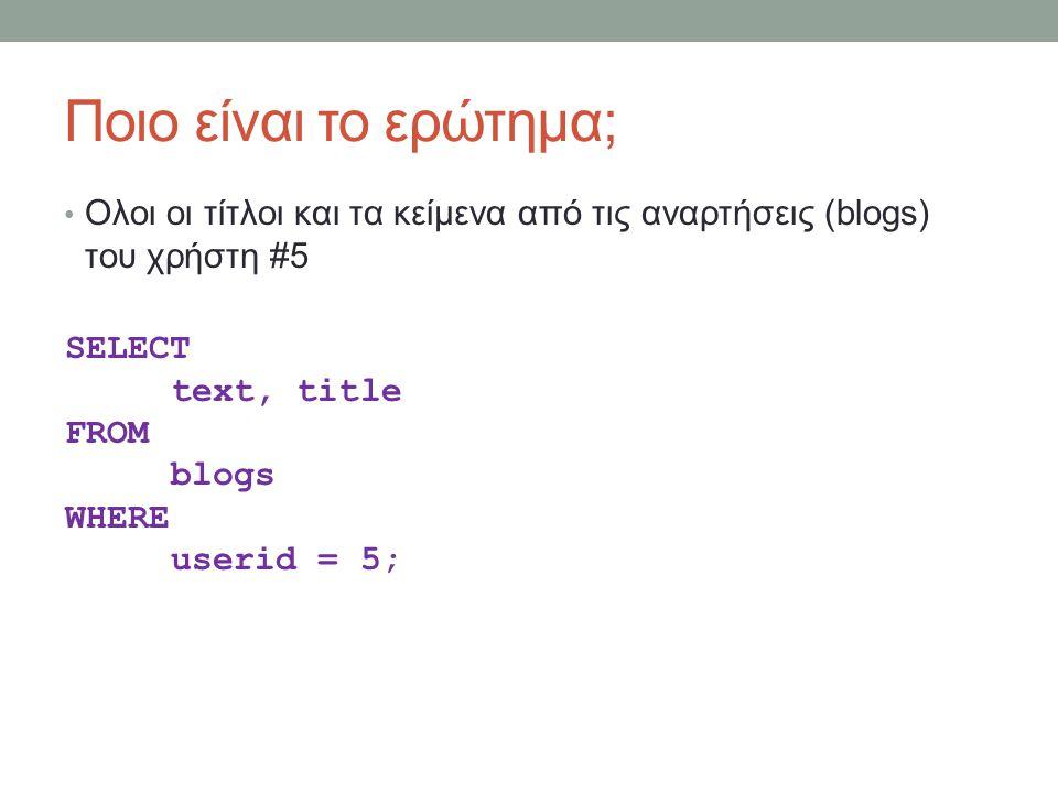 Ποιο είναι το ερώτημα; Ολοι οι τίτλοι και τα κείμενα από τις αναρτήσεις (blogs) του χρήστη #5 SELECT text, title FROM blogs WHERE userid = 5;