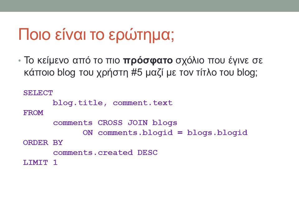 Ποιο είναι το ερώτημα; Το κείμενο από το πιο πρόσφατο σχόλιο που έγινε σε κάποιο blog του χρήστη #5 μαζί με τον τίτλο του blog; SELECT blog.title, comment.text FROM comments CROSS JOIN blogs ON comments.blogid = blogs.blogid ORDER BY comments.created DESC LIMIT 1