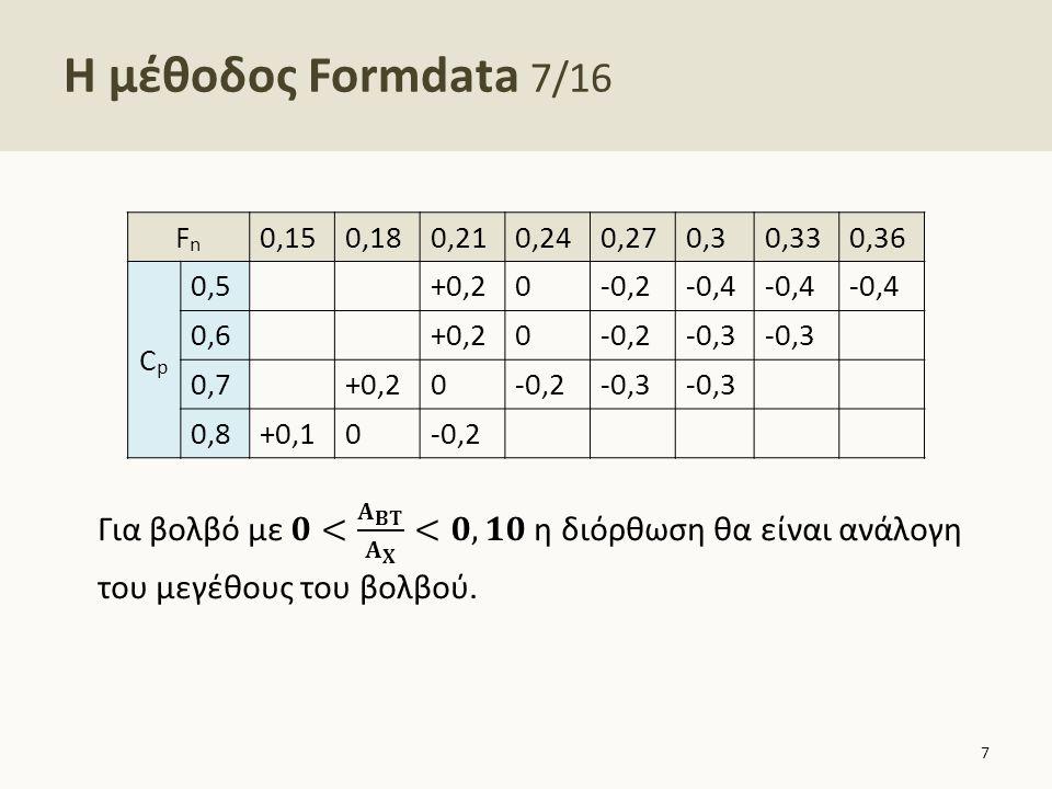 Η μέθοδος Formdata 8/16 4.Παρελκόμενα o Πηδάλιο: καμία διόρθωση o Παρατροπίδια: καμιά διόρθωση o Προεξοχές γάστρας για στήριξη αξόνων (bossings): Για γεμάτο πλοίο αυξάνεται η τιμή του C R κατά 3-5%.