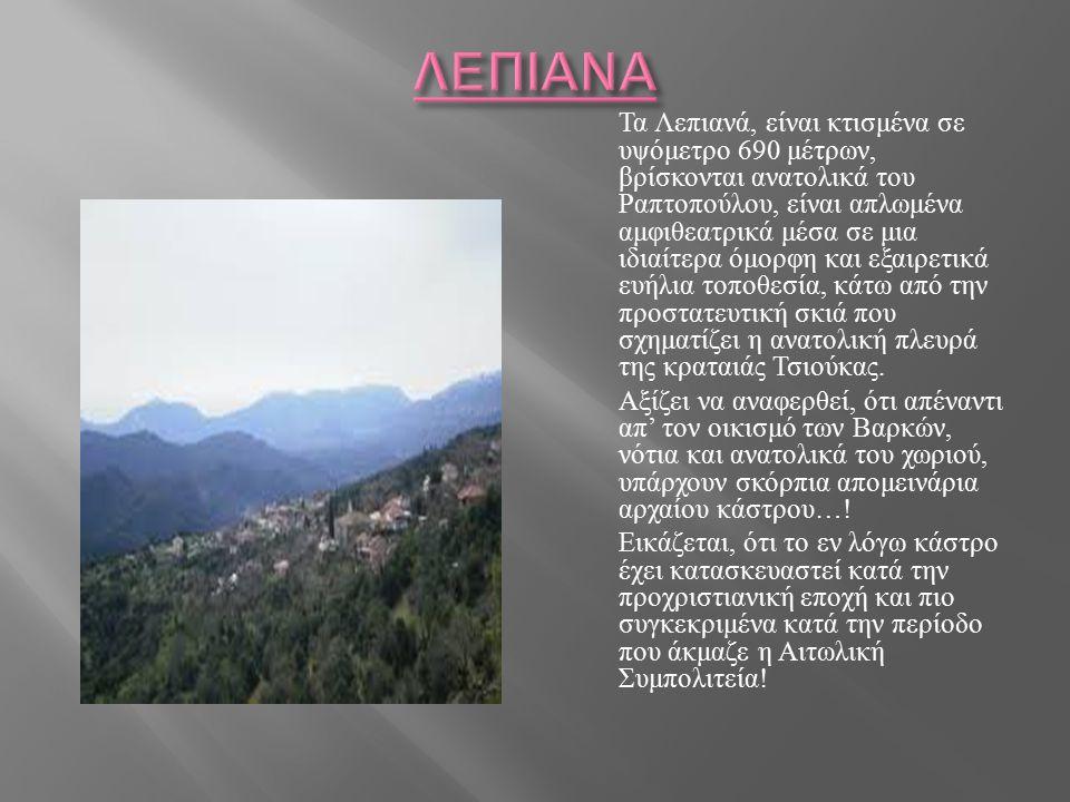 Τα Λεπιανά, είναι κτισμένα σε υψόμετρο 690 μέτρων, βρίσκονται ανατολικά του Ραπτοπούλου, είναι απλωμένα αμφιθεατρικά μέσα σε μια ιδιαίτερα όμορφη και