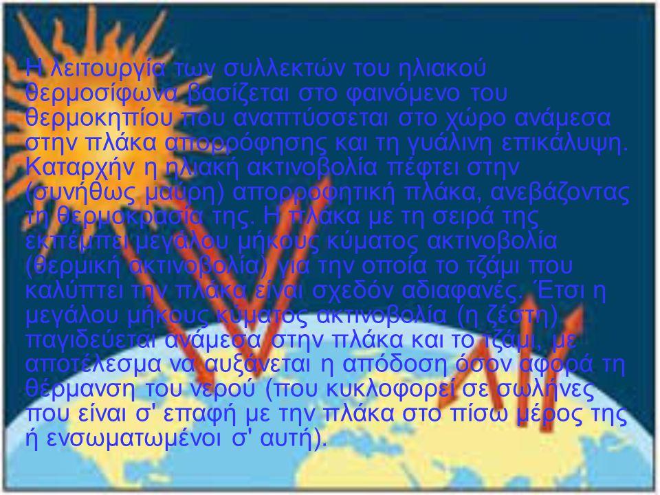 Η λειτουργία των συλλεκτών του ηλιακού θερμοσίφωνα βασίζεται στο φαινόμενο του θερμοκηπίου που αναπτύσσεται στο χώρο ανάμεσα στην πλάκα απορρόφησης κα
