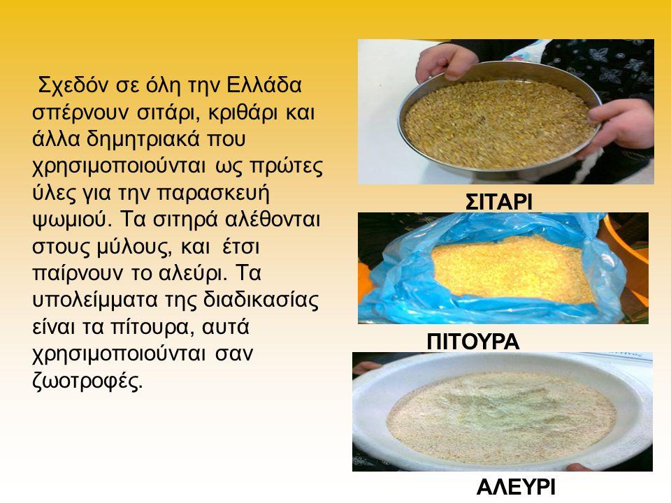 Σχεδόν σε όλη την Ελλάδα σπέρνουν σιτάρι, κριθάρι και άλλα δημητριακά που χρησιμοποιούνται ως πρώτες ύλες για την παρασκευή ψωμιού. Τα σιτηρά αλέθοντα