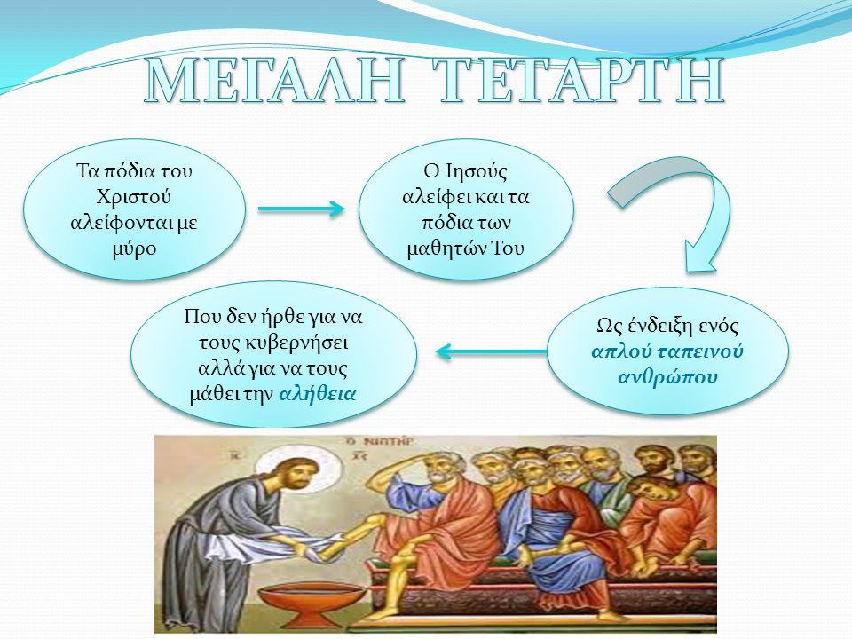 Τα πόδια του Χριστού αλείφονται με μύρο Ο Ιησούς αλείφει και τα πόδια των μαθητών Του Ως ένδειξη ενός απλού ταπεινού ανθρώπου Που δεν ήρθε για να τους κυβερνήσει αλλά για να τους μάθει την αλήθεια