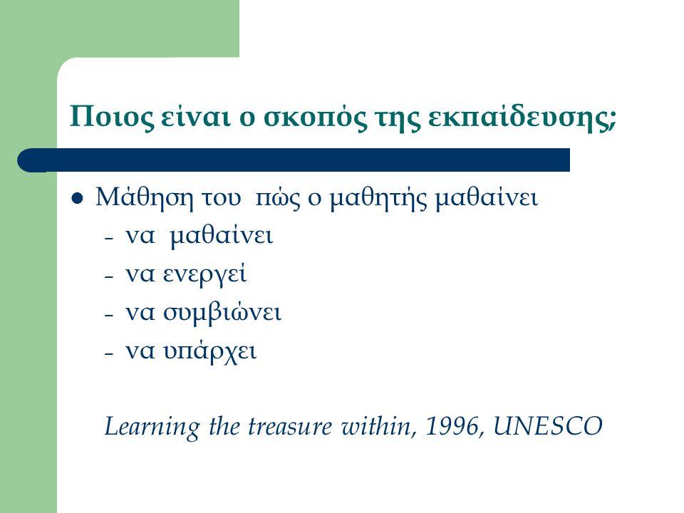 Ποιος είναι ο σκοπός της εκπαίδευσης; Μάθηση του πώς ο μαθητής μαθαίνει – να μαθαίνει – να ενεργεί – να συμβιώνει – να υπάρχει Learning the treasure within, 1996, UNESCO