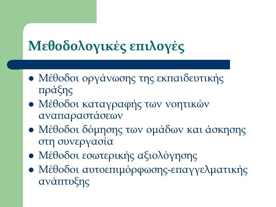 Μεθοδολογικές επιλογές Μέθοδοι οργάνωσης της εκπαιδευτικής πράξης Μέθοδοι καταγραφής των νοητικών αναπαραστάσεων Μέθοδοι δόμησης των ομάδων και άσκησης στη συνεργασία Μέθοδοι εσωτερικής αξιολόγησης Μέθοδοι αυτοεπιμόρφωσης-επαγγελματικής ανάπτυξης