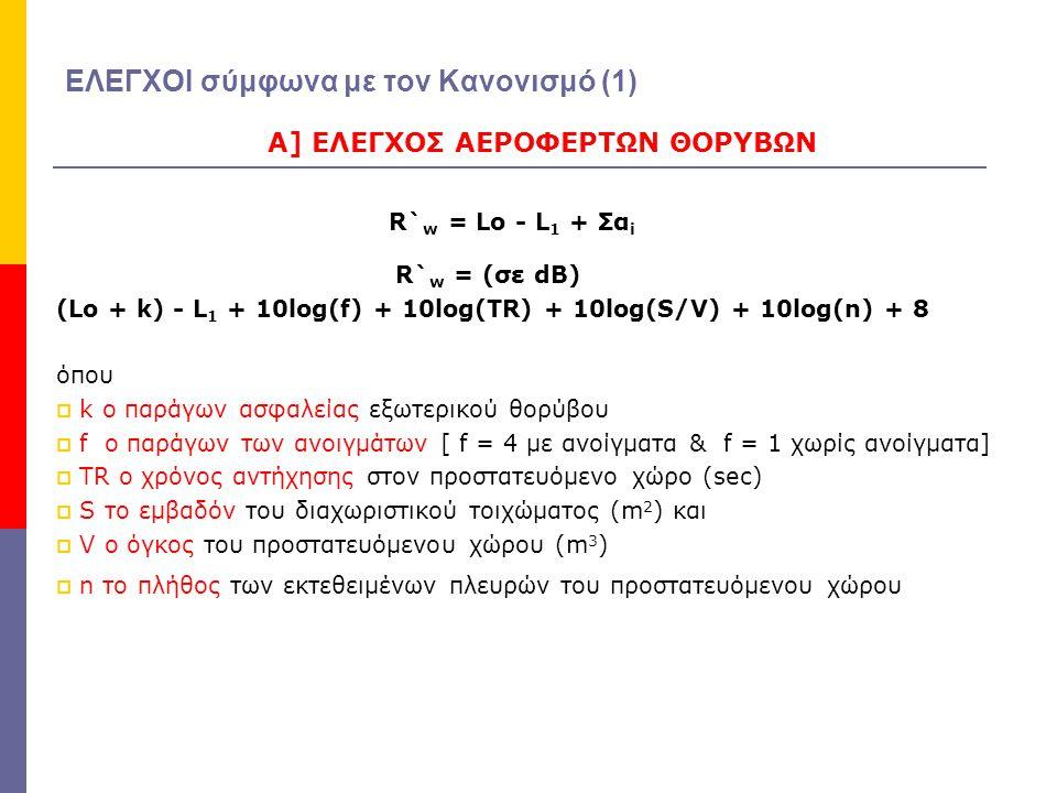 ΑΝΑΛΥΤΙΚΟΙ ΕΛΕΓΧΟΙ σύμφωνα με τον Κανονισμό και το DIN 4109 Α1] έλεγχος για το εξωτερικό περιβάλλον R`w = (σε dB) (Lο + 3) - L 1 + 10log (f) + 10log (TR) + 10log (S/V) + 10log (n) + 8 Α2] έλεγχος για γειτονικούς χώρους R`w = (σε dB) (Lο + 0) - L 1 + 10log (f) + 10log (TR) + 10log (S/V) + 10log (n) + 8 Α3] έλεγχος για μηχανολογικές εγκαταστάσεις R`w = (σε dB) (Lο - NR) - L 1 + 10log (f) + 10log (TR) + 10log (S/V) +10log (n) + 8 όπουNR = 10log ( Α τελικό / Α αρχικό ) NR η καταστολή θορύβου στον χώρο εκπομπής Α αρχικό η αρχική ηχοαπορρόφηση στον χώρο εκπομπής Α τελικό η ηχοαπορρόφηση μετά την καταστολή θορύβου ΣΗΜΕΙΩΣΗ : ανάλογα με τα οικοδομική δεδομένα θα συνυπολογιστεί η πλευρική μετάδοση Rw = R`w + d