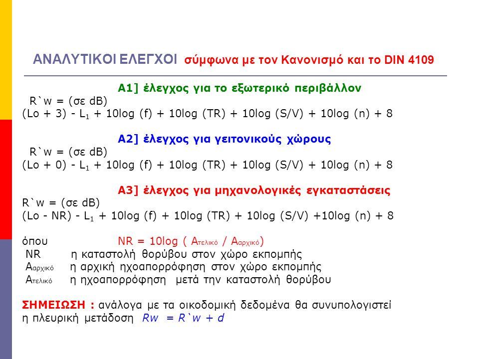 ΕΛΕΓΧΟΙ (2) σύμφωνα με τον Κανονισμό Β] ΕΛΕΓΧΟΣ ΚΤΥΠΟΓΕΝΟΥΣ ΘΟΡΥΒΟΥ L `n,w = Lο - L 1 + Σα i L `n,w = Lο - L 1 + 10log (TR / V) + 18 (σε dB) όπου  TR ο χρόνος αντήχησης στον προστατευόμενο χώρο (sec)  V ο όγκος του προστατευόμενου χώρου (m 3 ) Επομένως, Επομένως, με δεδομένους τους απαιτούμενους ελέγχους για να προσδιορίσουμε τις οικοδομικές απαιτήσεις μιας ηχομόνωσης πρέπει να ορίσουμε τα βασικά μεγέθη των ελέγχων (θόρυβος, ησυχία, ηχομονωτική ικανότητα, παράγοντες γειτνίασης)