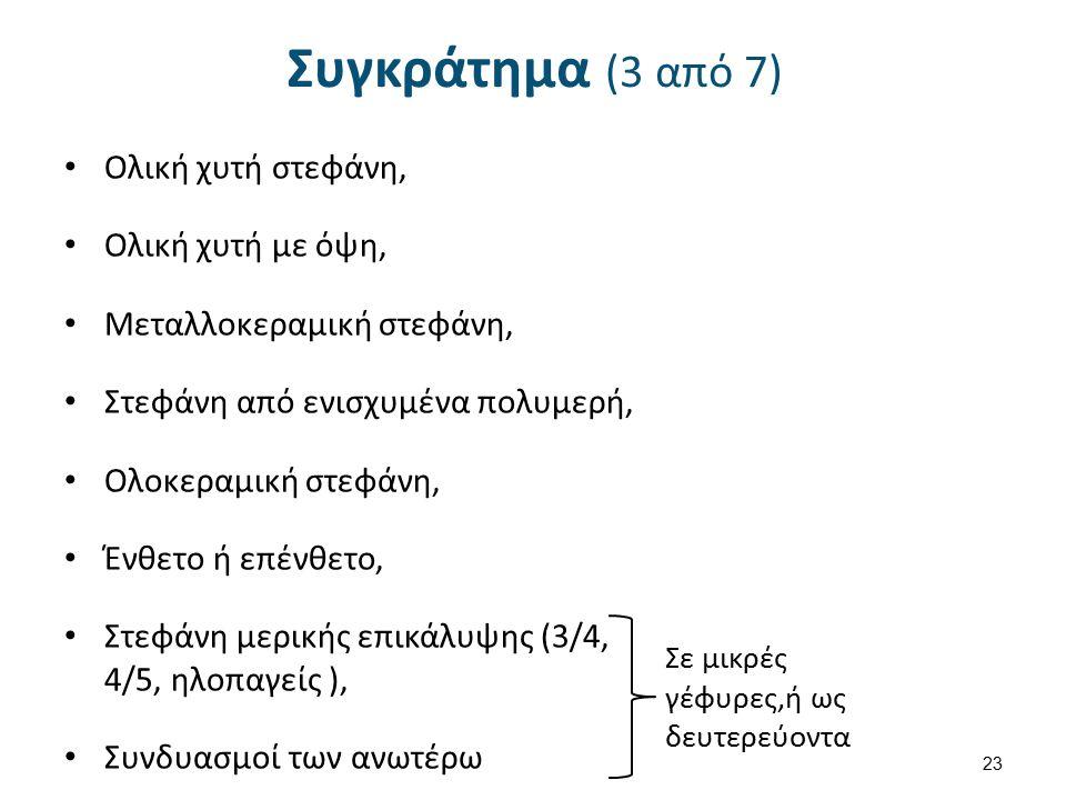 Συγκράτημα (3 από 7) Ολική χυτή στεφάνη, Ολική χυτή με όψη, Μεταλλοκεραμική στεφάνη, Στεφάνη από ενισχυμένα πολυμερή, Ολοκεραμική στεφάνη, Ένθετο ή επένθετο, Στεφάνη μερικής επικάλυψης (3/4, 4/5, ηλοπαγείς ), Συνδυασμοί των ανωτέρω 23 Σε μικρές γέφυρες,ή ως δευτερεύοντα