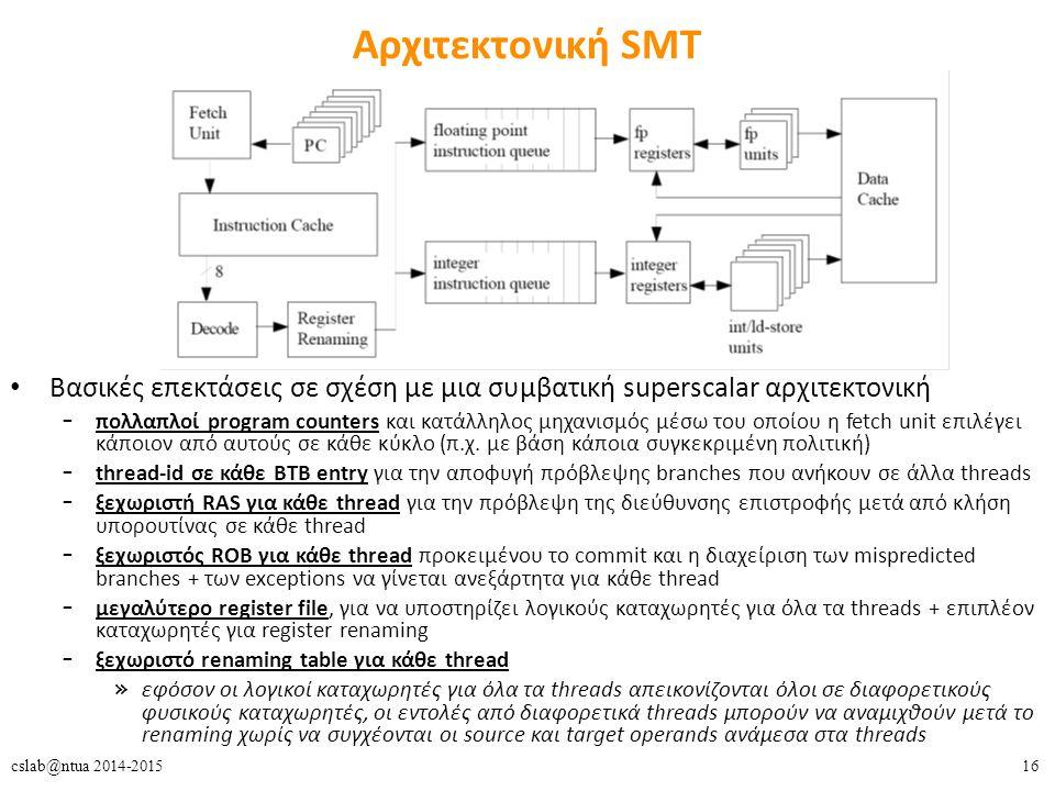 16cslab@ntua 2014-2015 Αρχιτεκτονική SMT Βασικές επεκτάσεις σε σχέση με μια συμβατική superscalar αρχιτεκτονική – πολλαπλοί program counters και κατάλληλος μηχανισμός μέσω του οποίου η fetch unit επιλέγει κάποιον από αυτούς σε κάθε κύκλο (π.χ.