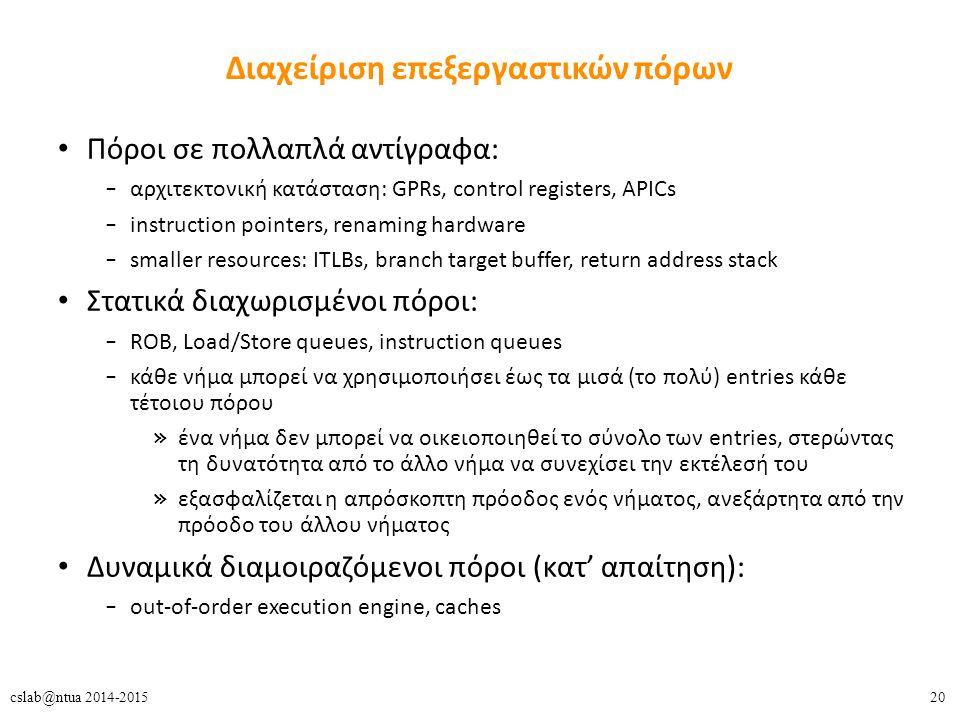20cslab@ntua 2014-2015 Διαχείριση επεξεργαστικών πόρων Πόροι σε πολλαπλά αντίγραφα: – αρχιτεκτονική κατάσταση: GPRs, control registers, APICs – instru