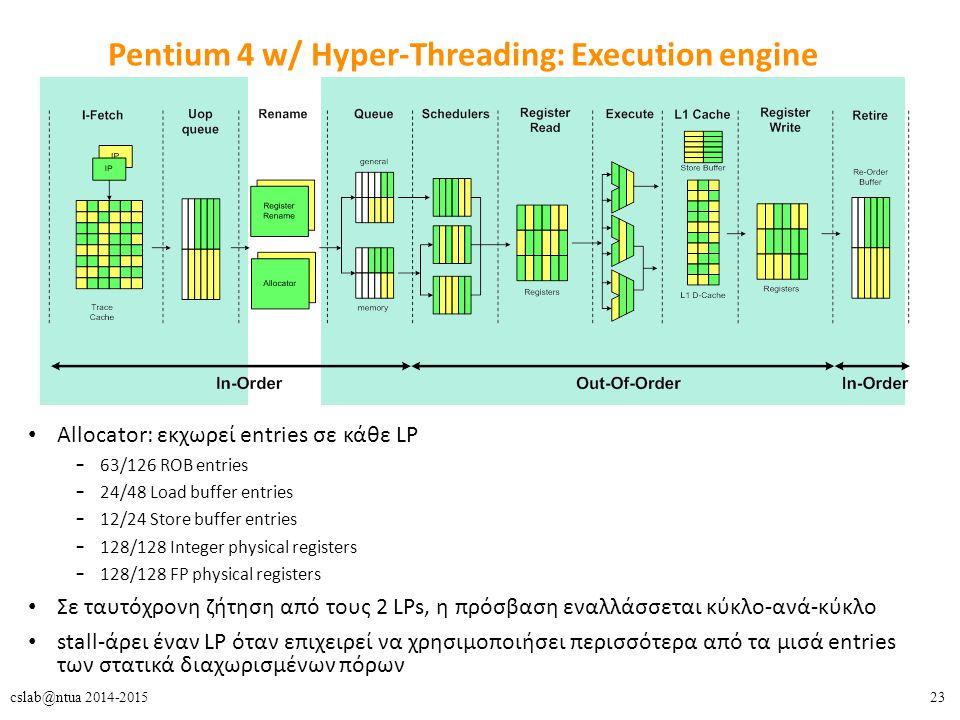 23cslab@ntua 2014-2015 Pentium 4 w/ Hyper-Threading: Execution engine Allocator: εκχωρεί entries σε κάθε LP – 63/126 ROB entries – 24/48 Load buffer entries – 12/24 Store buffer entries – 128/128 Integer physical registers – 128/128 FP physical registers Σε ταυτόχρονη ζήτηση από τους 2 LPs, η πρόσβαση εναλλάσσεται κύκλο-ανά-κύκλο stall-άρει έναν LP όταν επιχειρεί να χρησιμοποιήσει περισσότερα από τα μισά entries των στατικά διαχωρισμένων πόρων