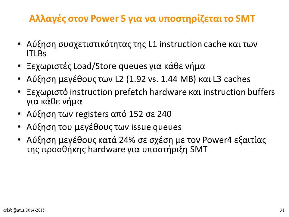 31cslab@ntua 2014-2015 Αλλαγές στον Power 5 για να υποστηρίζεται το SMT Aύξηση συσχετιστικότητας της L1 instruction cache και των ITLBs Ξεχωριστές Load/Store queues για κάθε νήμα Αύξηση μεγέθους των L2 (1.92 vs.