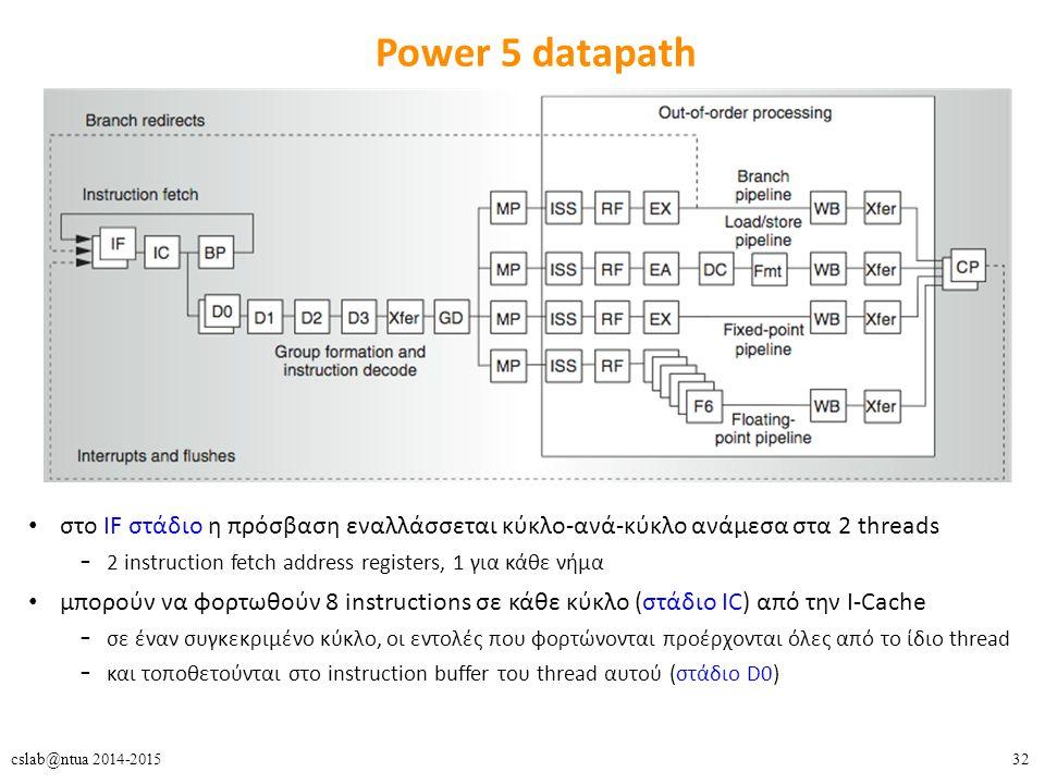 32cslab@ntua 2014-2015 Power 5 datapath στο IF στάδιο η πρόσβαση εναλλάσσεται κύκλο-ανά-κύκλο ανάμεσα στα 2 threads – 2 instruction fetch address registers, 1 για κάθε νήμα μπορούν να φορτωθούν 8 instructions σε κάθε κύκλο (στάδιο IC) από την I-Cache – σε έναν συγκεκριμένο κύκλο, οι εντολές που φορτώνονται προέρχονται όλες από το ίδιο thread – και τοποθετούνται στο instruction buffer του thread αυτού (στάδιο D0)