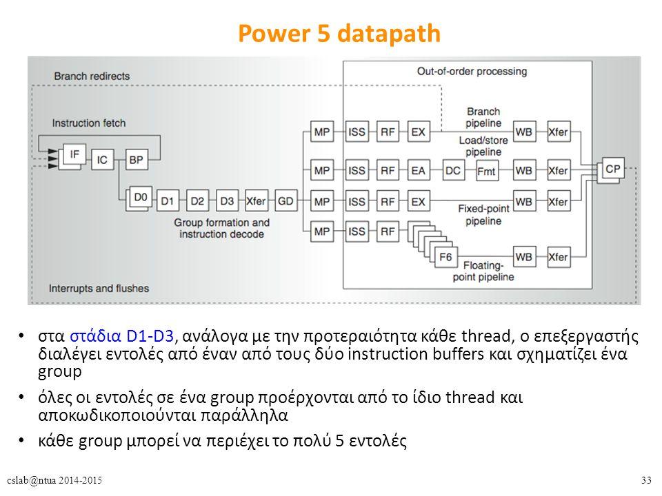 33cslab@ntua 2014-2015 Power 5 datapath στα στάδια D1-D3, ανάλογα με την προτεραιότητα κάθε thread, ο επεξεργαστής διαλέγει εντολές από έναν από τους δύο instruction buffers και σχηματίζει ένα group όλες οι εντολές σε ένα group προέρχονται από το ίδιο thread και αποκωδικοποιούνται παράλληλα κάθε group μπορεί να περιέχει το πολύ 5 εντολές