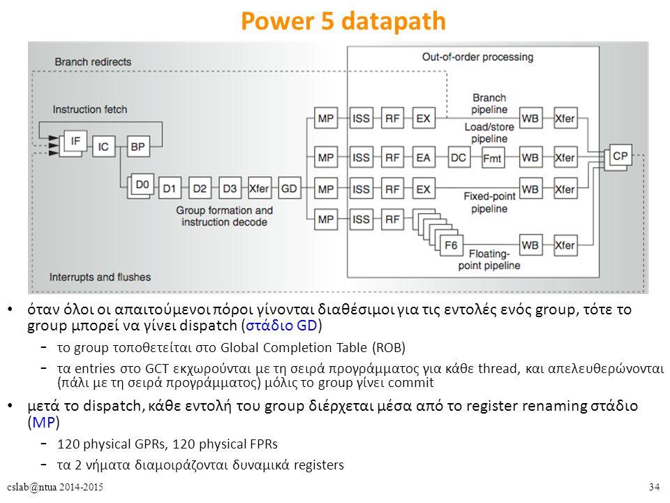 34cslab@ntua 2014-2015 Power 5 datapath όταν όλοι οι απαιτούμενοι πόροι γίνονται διαθέσιμοι για τις εντολές ενός group, τότε το group μπορεί να γίνει dispatch (στάδιο GD) – το group τοποθετείται στο Global Completion Table (ROB) – τα entries στο GCT εκχωρούνται με τη σειρά προγράμματος για κάθε thread, και απελευθερώνονται (πάλι με τη σειρά προγράμματος) μόλις το group γίνει commit μετά το dispatch, κάθε εντολή του group διέρχεται μέσα από το register renaming στάδιο (MP) – 120 physical GPRs, 120 physical FPRs – τα 2 νήματα διαμοιράζονται δυναμικά registers