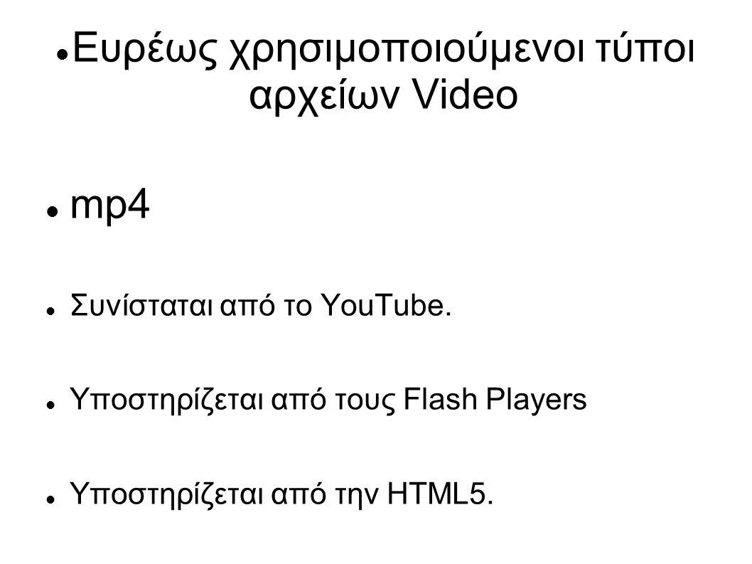 Ευρέως χρησιμοποιούμενοι τύποι αρχείων Video mp4 Συνίσταται από το YouTube.