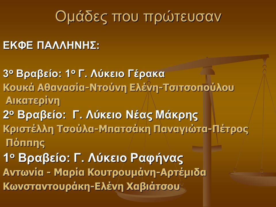 Ομάδες που πρώτευσαν ΕΚΦΕ ΠΑΛΛΗΝΗΣ: 3 ο Βραβείο: 1 ο Γ. Λύκειο Γέρακα Κουκά Αθανασία-Ντούνη Ελένη-Τσιτσοπούλου Αικατερίνη Αικατερίνη 2 ο Βραβείο: Γ. Λ