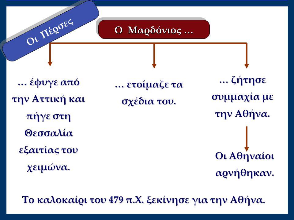 Οι Πέρσες Ο Μαρδόνιος … … έφυγε από την Αττική και πήγε στη Θεσσαλία εξαιτίας του χειμώνα. … ζήτησε συμμαχία με την Αθήνα. … ετοίμαζε τα σχέδια του. Ο