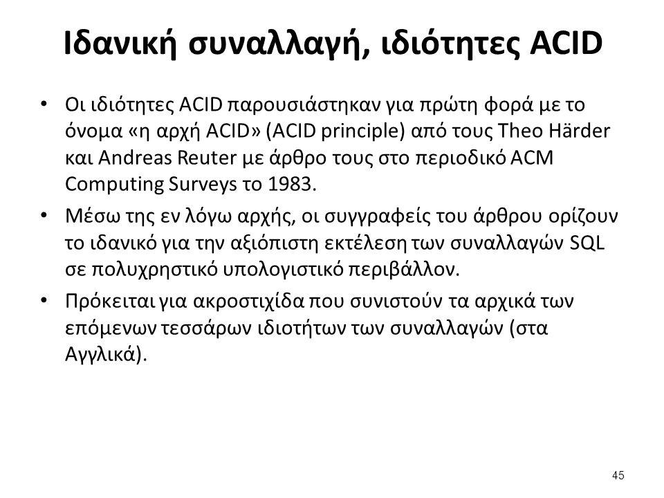 Ιδανική συναλλαγή, ιδιότητες ACID Οι ιδιότητες ACID παρουσιάστηκαν για πρώτη φορά με το όνομα «η αρχή ACID» (ACID principle) από τους Theo Härder και Andreas Reuter με άρθρο τους στο περιοδικό ACM Computing Surveys το 1983.