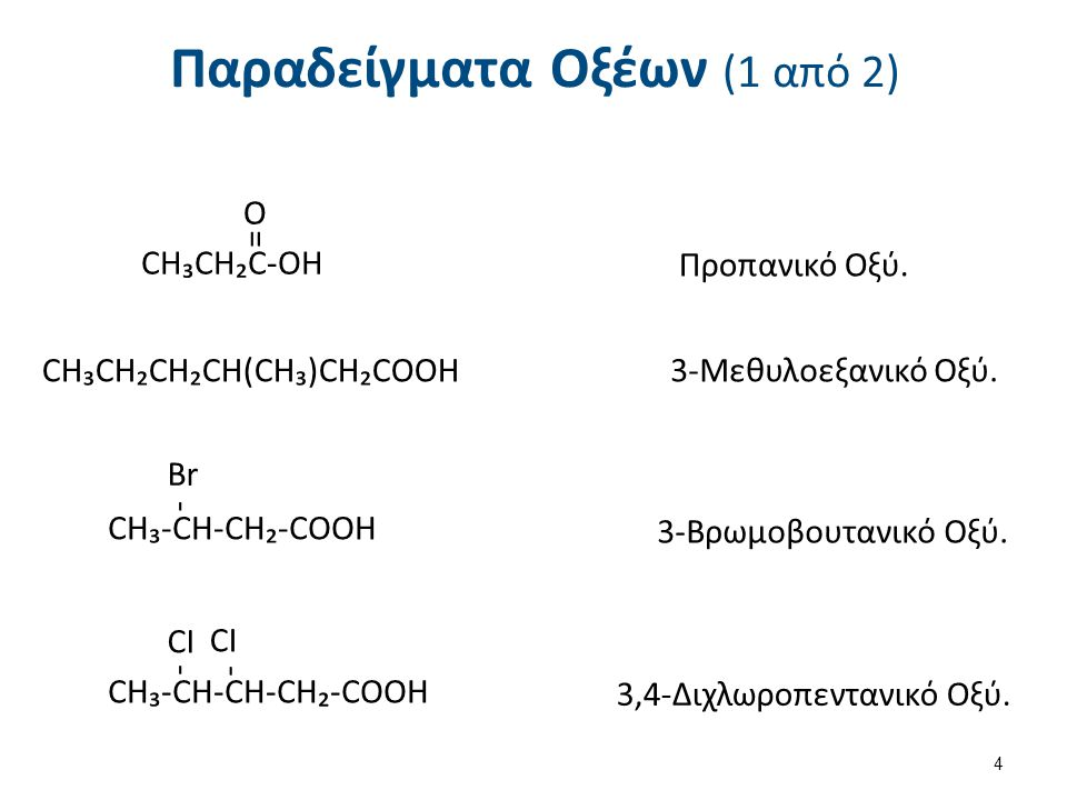 Παραδείγματα Οξέων (1 από 2) CH₃CH₂C-OH = O Προπανικό Οξύ. CH₃CH₂CH₂CH(CH₃)CH₂COOH3-Μεθυλοεξανικό Οξύ. CH₃-CH-CH₂-COOH - Br 3-Βρωμοβουτανικό Οξύ. CH₃-