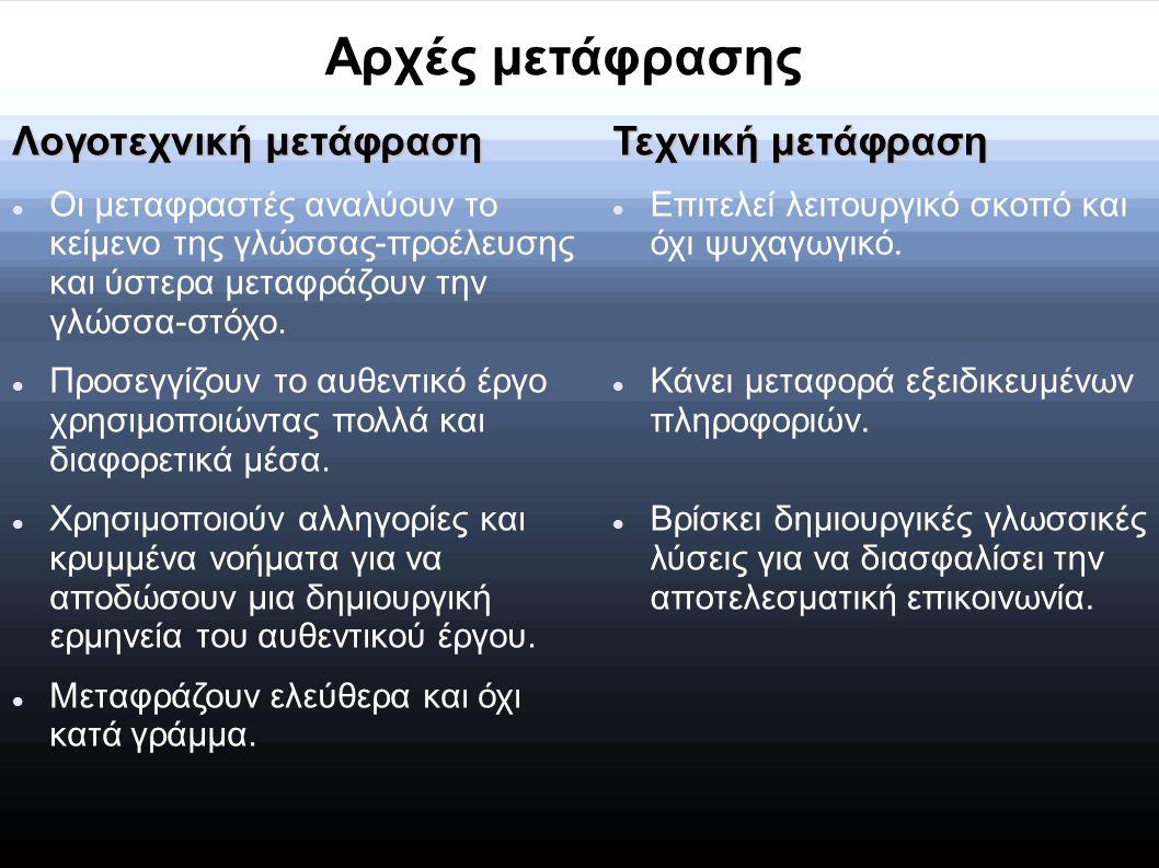 Λογοτεχνική μετάφραση Οι μεταφραστές αναλύουν το κείμενο της γλώσσας-προέλευσης και ύστερα μεταφράζουν την γλώσσα-στόχο. Προσεγγίζουν το αυθεντικό έργ