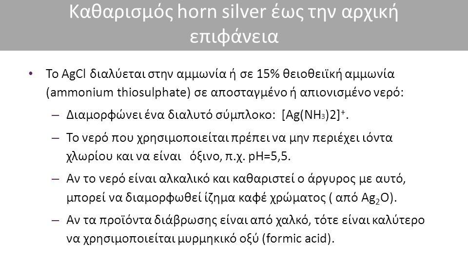 Καθαρισμός horn silver έως την αρχική επιφάνεια Το AgCl διαλύεται στην αμμωνία ή σε 15% θειοθειϊκή αμμωνία (ammonium thiosulphate) σε αποσταγμένο ή απ