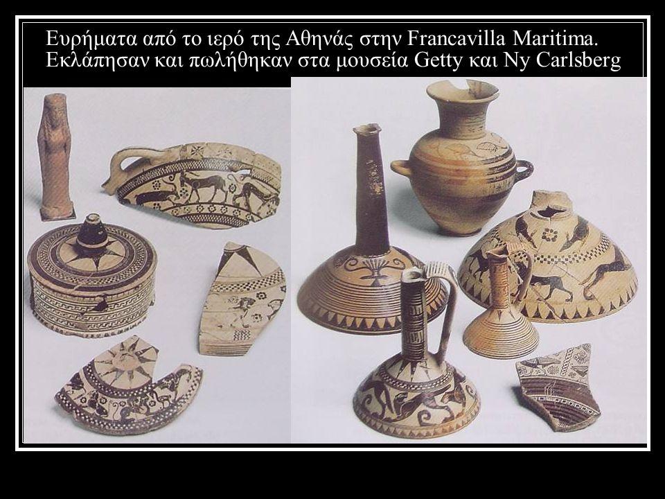 Ευρήματα από το ιερό της Αθηνάς στην Francavilla Maritima. Εκλάπησαν και πωλήθηκαν στα μουσεία Getty και Ny Carlsberg