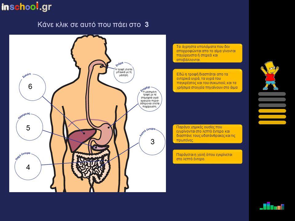 2 3 4 5 6 Η μασημένη τροφή με τα στομαχικά υγρά αραιώνει περισσότερο και γίνεται παχύρευστη. Τα άχρηστα υπολείματα που δεν απορροφώνται απο το αίμα γί
