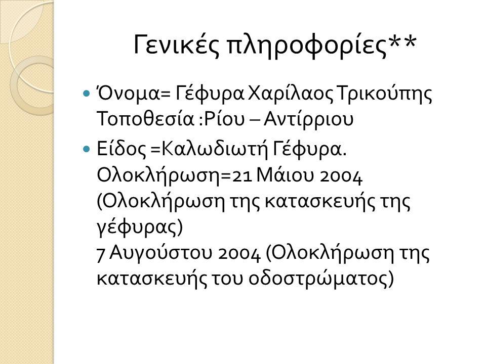 Γενικές πληροφορίες ** Όνομα = Γέφυρα Χαρίλαος Τρικούπης Τοποθεσία : Ρίου – Αντίρριου Είδος = Καλωδιωτή Γέφυρα. Ολοκλήρωση =21 Μάιου 2004 ( Ολοκλήρωση