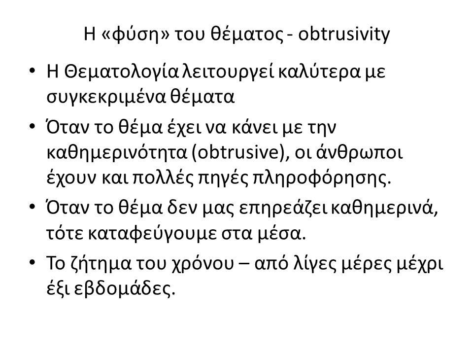 Η «φύση» του θέματος - obtrusivity H Θεματολογία λειτουργεί καλύτερα με συγκεκριμένα θέματα Όταν το θέμα έχει να κάνει με την καθημερινότητα (obtrusiv