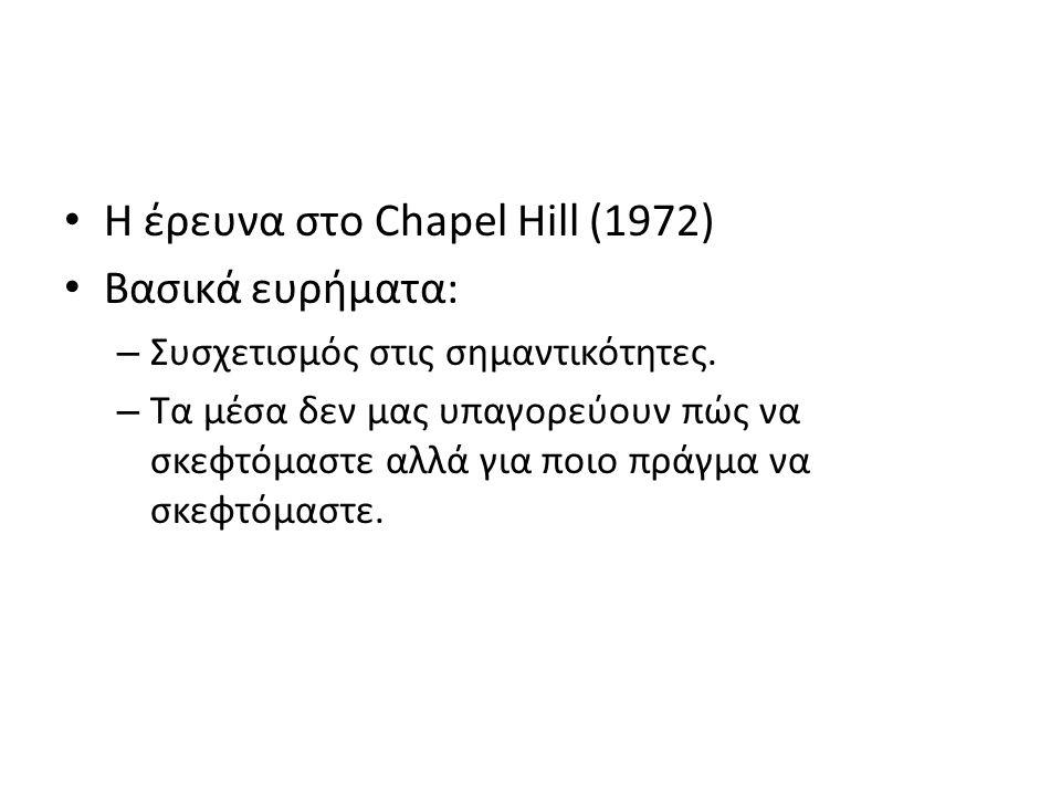 Η έρευνα στο Chapel Hill (1972) Βασικά ευρήματα: – Συσχετισμός στις σημαντικότητες. – Τα μέσα δεν μας υπαγορεύουν πώς να σκεφτόμαστε αλλά για ποιο πρά