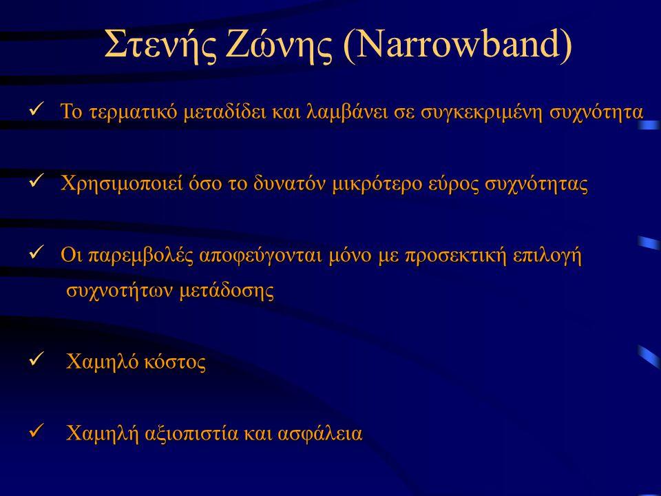 Στενής Ζώνης (Narrowband) Το τερματικό μεταδίδει και λαμβάνει σε συγκεκριμένη συχνότητα Το τερματικό μεταδίδει και λαμβάνει σε συγκεκριμένη συχνότητα Χρησιμοποιεί όσο το δυνατόν μικρότερο εύρος συχνότητας Χρησιμοποιεί όσο το δυνατόν μικρότερο εύρος συχνότητας Οι παρεμβολές αποφεύγονται μόνο με προσεκτική επιλογή Οι παρεμβολές αποφεύγονται μόνο με προσεκτική επιλογή συχνοτήτων μετάδοσης συχνοτήτων μετάδοσης Χαμηλό κόστος Χαμηλό κόστος Χαμηλή αξιοπιστία και ασφάλεια Χαμηλή αξιοπιστία και ασφάλεια