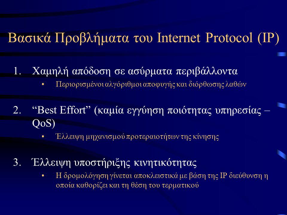 Βασικά Προβλήματα του Internet Protocol (IP) 1.Χαμηλή απόδοση σε ασύρματα περιβάλλοντα Περιορισμένοι αλγόριθμοι αποφυγής και διόρθωσης λαθών 2. Best Effort (καμία εγγύηση ποιότητας υπηρεσίας – QoS) Έλλειψη μηχανισμού προτεραιοτήτων της κίνησης 3.Έλλειψη υποστήριξης κινητικότητας Η δρομολόγηση γίνεται αποκλειστικά με βάση της IP διεύθυνση η οποία καθορίζει και τη θέση του τερματικού