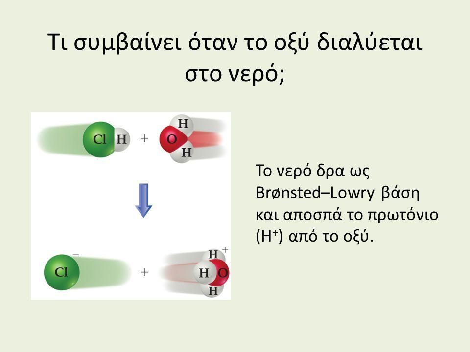 Τι συμβαίνει όταν το οξύ διαλύεται στο νερό; Το νερό δρα ως Brønsted–Lowry βάση και αποσπά το πρωτόνιο (H + ) από το οξύ.