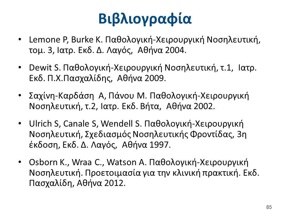 Βιβλιογραφία Lemone P, Burke K. Παθολογική-Χειρουργική Νοσηλευτική, τομ. 3, Ιατρ. Εκδ. Δ. Λαγός, Αθήνα 2004. Dewit S. Παθολογική-Χειρουργική Νοσηλευτι