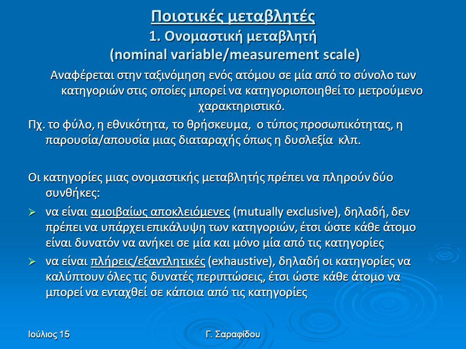 Ιούλιος 15Γ. Σαραφίδου Ποιοτικές μεταβλητές 1. Ονομαστική μεταβλητή (nominal variable/measurement scale) Αναφέρεται στην ταξινόμηση ενός ατόμου σε μία