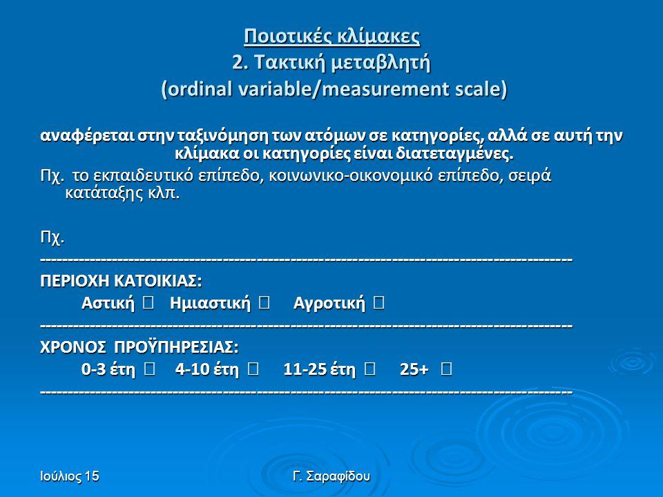 Ιούλιος 15Γ. Σαραφίδου Ποιοτικές κλίμακες 2. Τακτική μεταβλητή (ordinal variable/measurement scale) αναφέρεται στην ταξινόμηση των ατόμων σε κατηγορίε