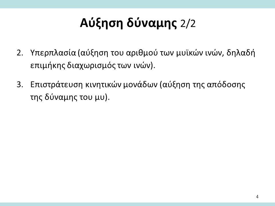 Αύξηση δύναμης 2/2 2.Υπερπλασία (αύξηση του αριθμού των μυϊκών ινών, δηλαδή επιμήκης διαχωρισμός των ινών). 3.Επιστράτευση κινητικών μονάδων (αύξηση τ