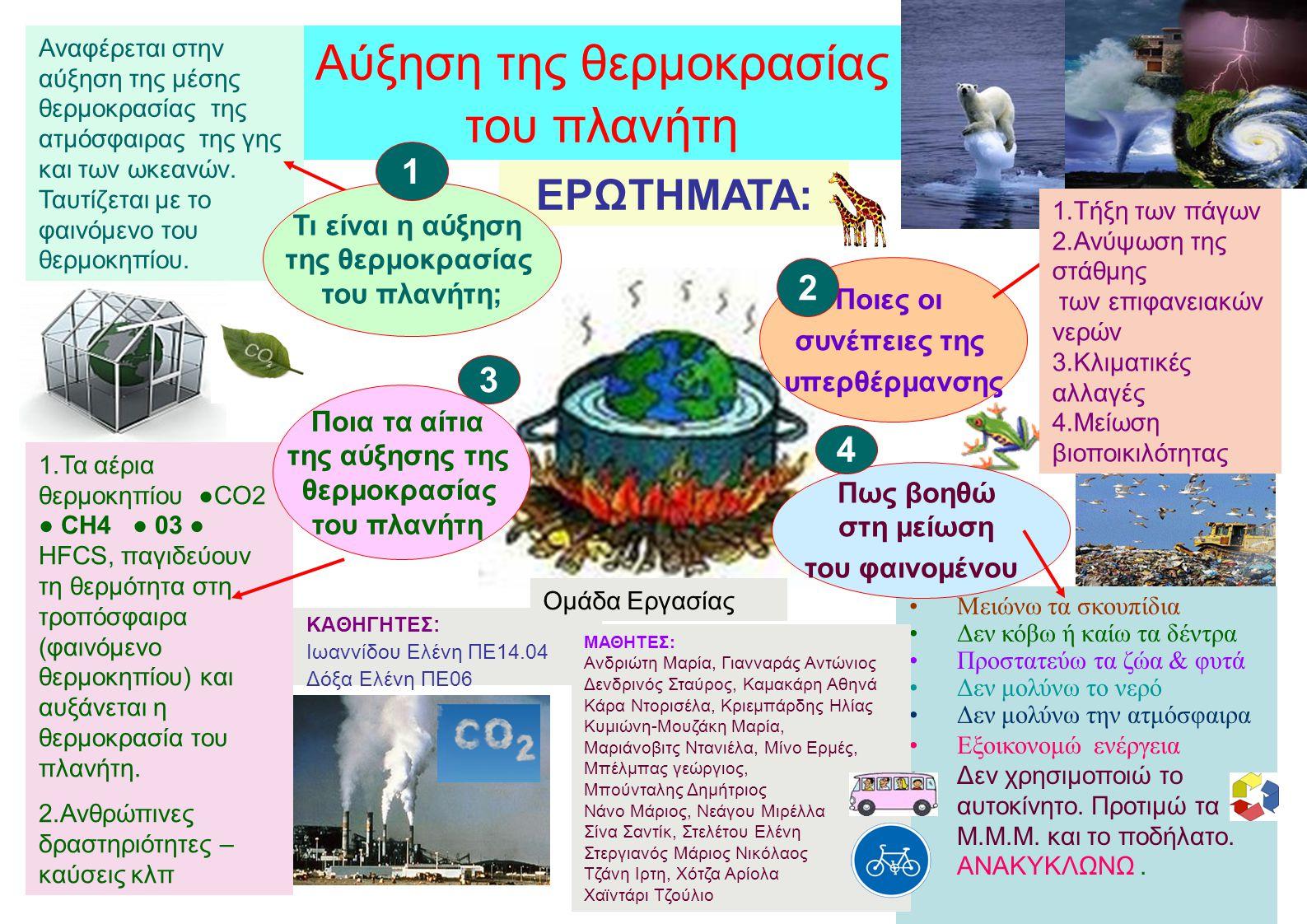 ΕΡΩΤΗΜΑΤΑ: Ποιες οι συνέπειες της υπερθέρμανσης 2 Μειώνω τα σκουπίδια Δεν κόβω ή καίω τα δέντρα Προστατεύω τα ζώα & φυτά Δεν μολύνω το νερό Δεν μολύνω την ατμόσφαιρα Εξοικονομώ ενέργεια Δεν χρησιμοποιώ το αυτοκίνητο.