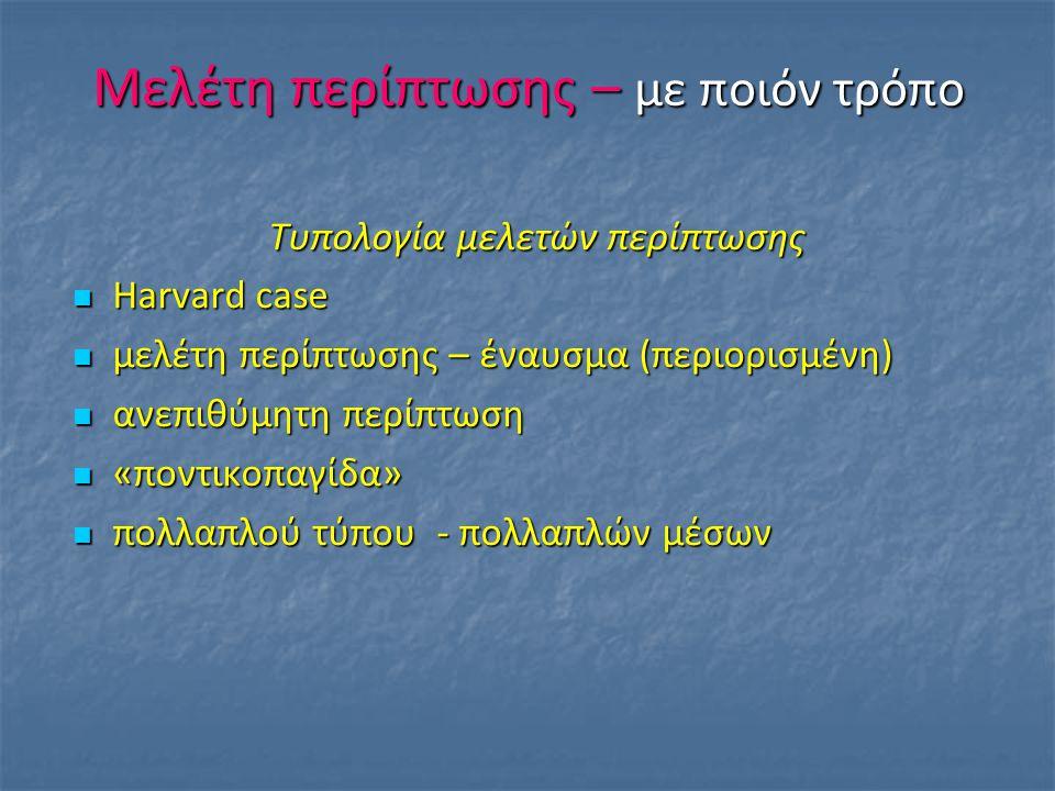 Μελέτη περίπτωσης – με ποιόν τρόπο Τυπολογία μελετών περίπτωσης Harvard case Harvard case μελέτη περίπτωσης – έναυσμα (περιορισμένη) μελέτη περίπτωσης – έναυσμα (περιορισμένη) ανεπιθύμητη περίπτωση ανεπιθύμητη περίπτωση «ποντικοπαγίδα» «ποντικοπαγίδα» πολλαπλού τύπου - πολλαπλών μέσων πολλαπλού τύπου - πολλαπλών μέσων